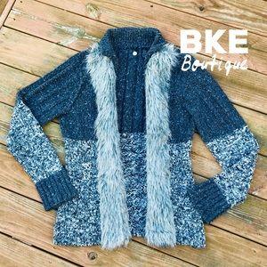 BKE Boutique Cozy Open Cardigan w/ Faux Fur Trim